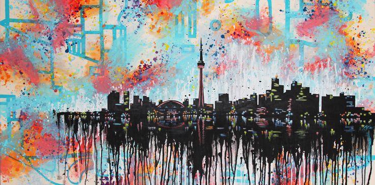Heart of the City: BOLD remix | Toronto skyline painting | acrylic on wood | 30x60 || Josephine Condotta
