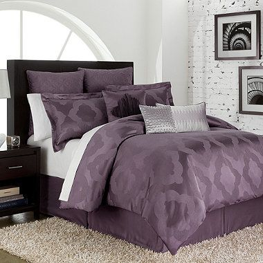 Relaxed and urban, the Circa comforter features a beautifully colored amethyst ground with a richly textured jacquard weave. A Moroccan motif gives this set a distinctive international flavor that will turn your bedroom into a cozy, sophisticated retreat.
