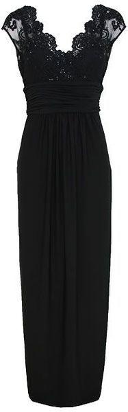 Black Lace Top Maxi Dress