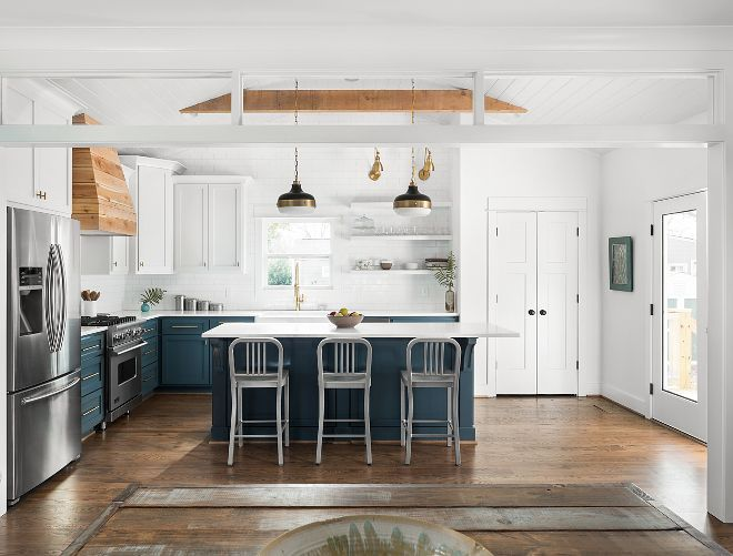 Two Toned Blue And White Kitchen Inspiring Two Toned Blue And