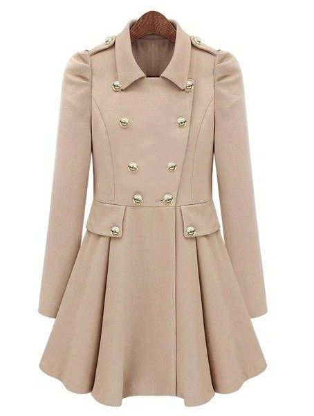 Ladylike Turn-Down Collar Solid Color Epaulet Puff Sleeves Ruffled Double-Breasted Women's Trench