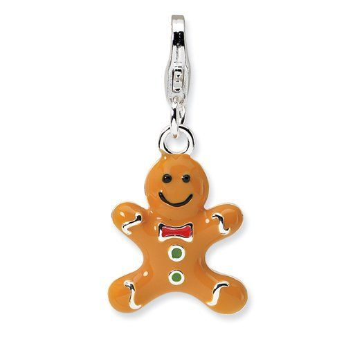 Sterling Silver 3-D Enameled Gingerbread Cookie w/Lobster Claw Clasp Clasp Charm Real Goldia Designer Perfect Jewelry Gift goldia. $20.14