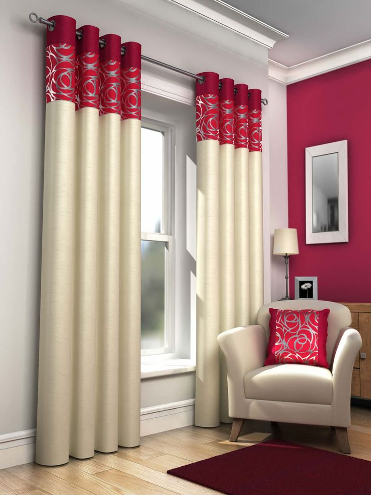 The Elegance Faux Silk Curtains Ideas For Luxury Window Accent: Red And White Faux Silk Curtains For Nursery Room Window Decor