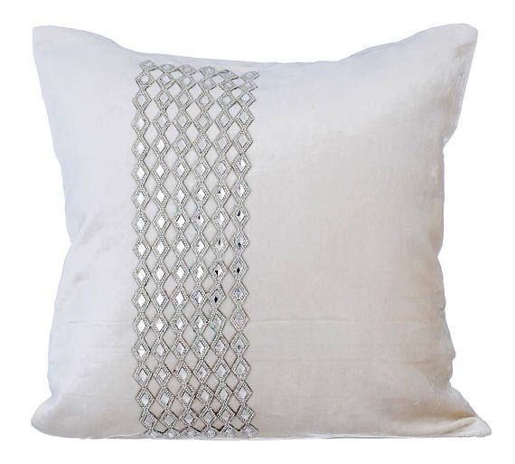 Designer White Bling Pillow Cover 16x16 Velvet