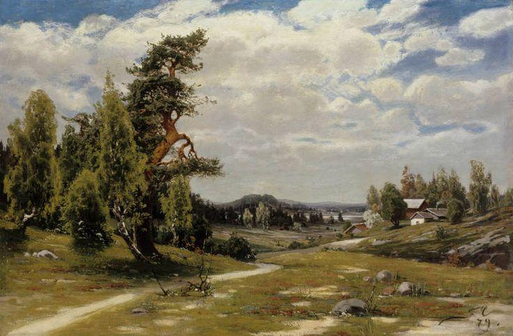 Finnish Landscape in Summer - 1879 - Churberg, Fanny (1845-1892), Ateneum - Churberg sai vaikutteita saksal. myöhäisromantiikasta.Hänen tuotantonsa edustaa valtaosin Düsseldorfin koulukunnan esteett.näkemyksiä.Hänelle kehittyi kuitenkin omintakeinen ilmaisutapa,värien ja siveltimen käyttö oli usein epätavallisen voimakasta vallitseviin taidesuuntauksiin nähden.Epäsovinnaisuus herättisen ajan yleisössä ristiriitaisia reaktioita.Hänen töihinsä Suomessa kohdistettiin karkeaa ja tylyä…