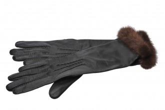 Guanti Laurel in pelle con polsini in pelliccia - Outlet!