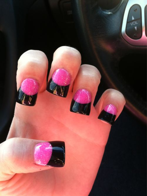 """Definitely like the black and pink. I guess this is the """"flared"""" nail which normally looks trashy but this doesn't look so bad."""