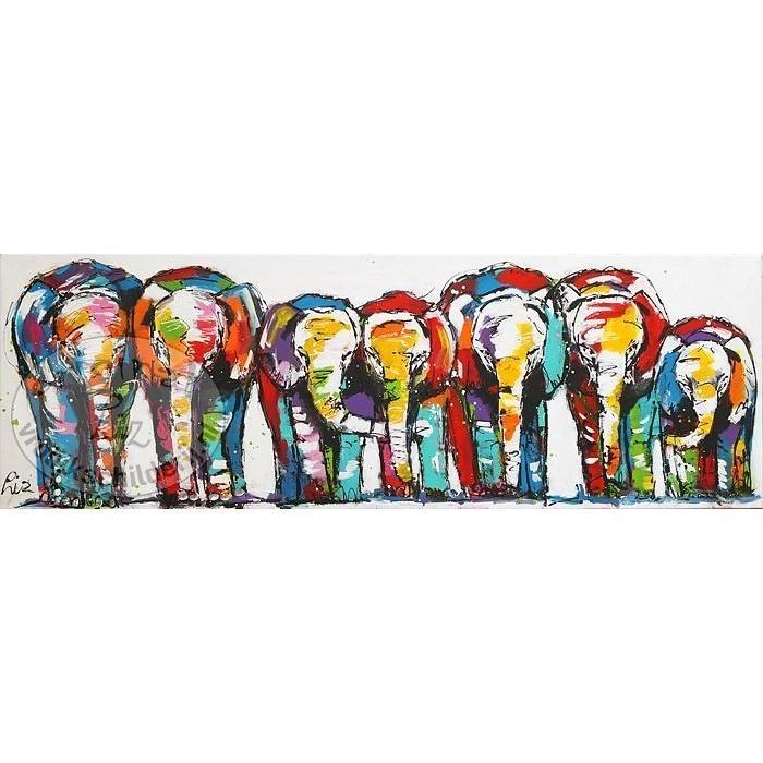 Olifanten familie - Vrolijk Schilderij
