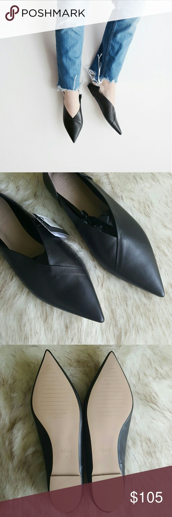 ZARA leather babouches Black authentic leather babouches. Never been worn and tags are still attached. In typical babouche fashion the backs can be pushed down so they look like mules.   These are a size 41 in zara which best fits a size 10 not an 11.   Come with dust bag.    PRICE IS FIRM. Zara Shoes Flats & Loafers