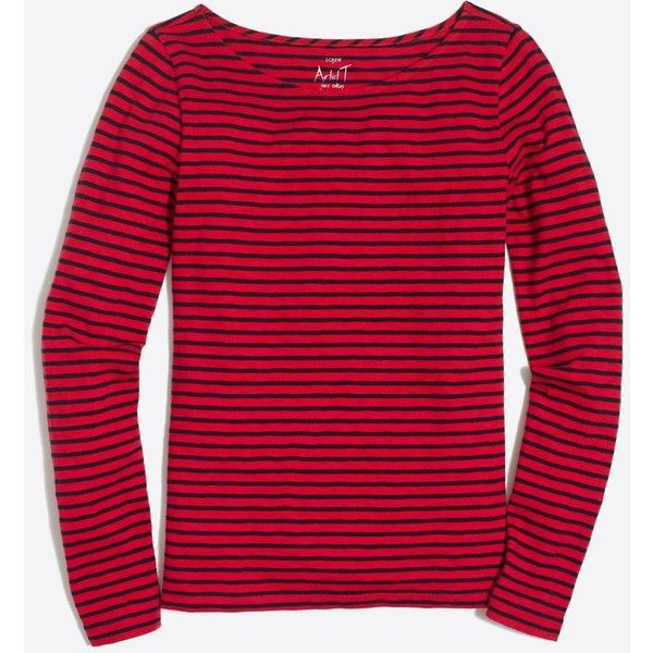 Women's T-Shirts & Knits | J.Crew Factory (31 CAD) ❤ liked on Polyvore featuring tops, t-shirts, graphic design t shirts, red striped t shirt, striped t shirt, red shirt and graphic t shirts