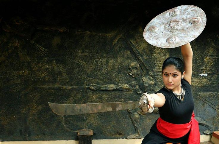 A lady learning Kalaripayattu - the ancient Indian martial art