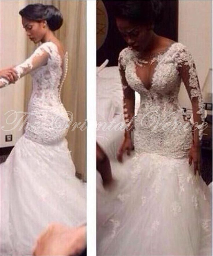 Sexy Mermaid African Wedding Dress 2017 Vestidos De Noiva Sheer Long Sleeves Bridal Gowns Lace Appliques