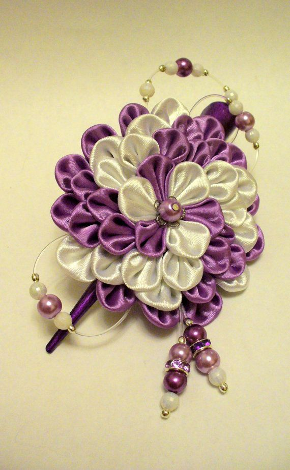 Kanzashi fabric flowers hair clip.