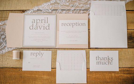pocket fold, vintage, pretty wedding invitation - isla.   wedding,