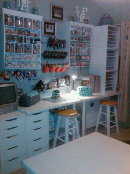 Organizing a craft room- love her wall setup with the pegboards and everything in reach.