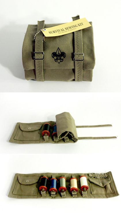 Boy Scout Sewing Kit - I LOVE the look of this little Boy Scout Knapsack, but I think I'd put something else in it.