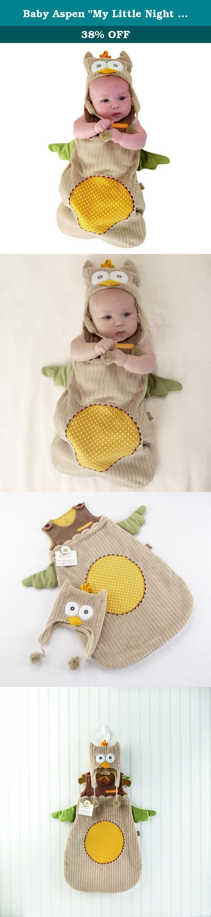 """Baby Aspen """"My Little Night Owl"""" Snuggle Sack and Cap, 0-6 months. What a wise choice! Whooo can resist """"My Little Night Owl,"""" Baby Aspen's dreamy snuggle sack? It's almost too cute for words, but we'll find some! How about unique? Adorable? Huggable? The bright spot at the baby shower? And, of course, the most original baby gift a new mom and dad can receive! Why not send the best to their nest?."""