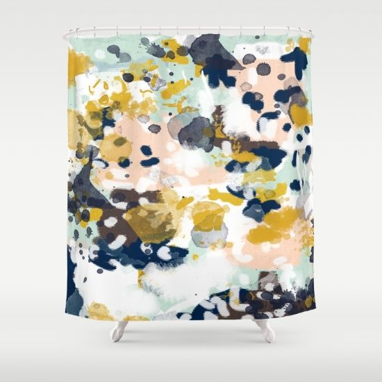 Sloane  Abstract painting in modern fresh colors navy mint blush cream Girl BathroomsBathrooms DecorBathroom TrendsGold Shower CurtainUnique Best 25 Gold shower curtain ideas on Pinterest