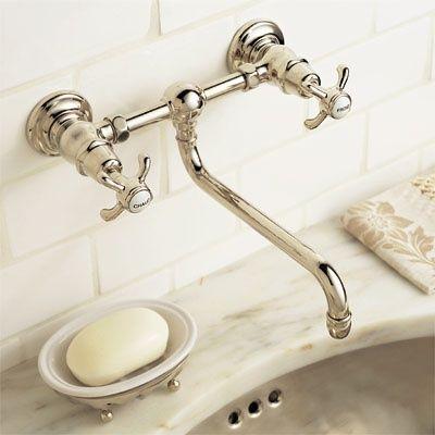 This gorgeous vintage style faucet for the bathroom! http://www.everydayhomeblog.com/2014/02/farmhouse-bathrooms.html