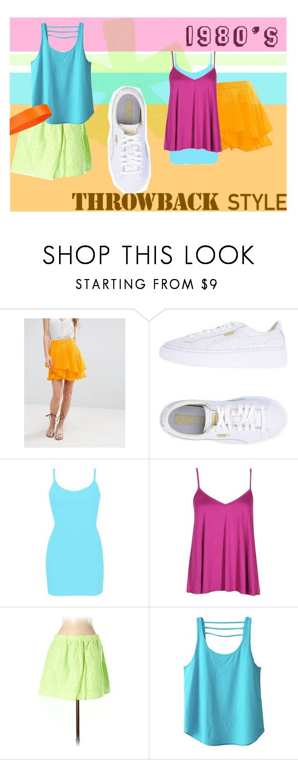 """""""1980's Throwback Thursday Outfit"""" by alina-289 ❤ liked on Polyvore featuring ASOS, Puma, BKE core, Boohoo, J.Crew and Kavu"""