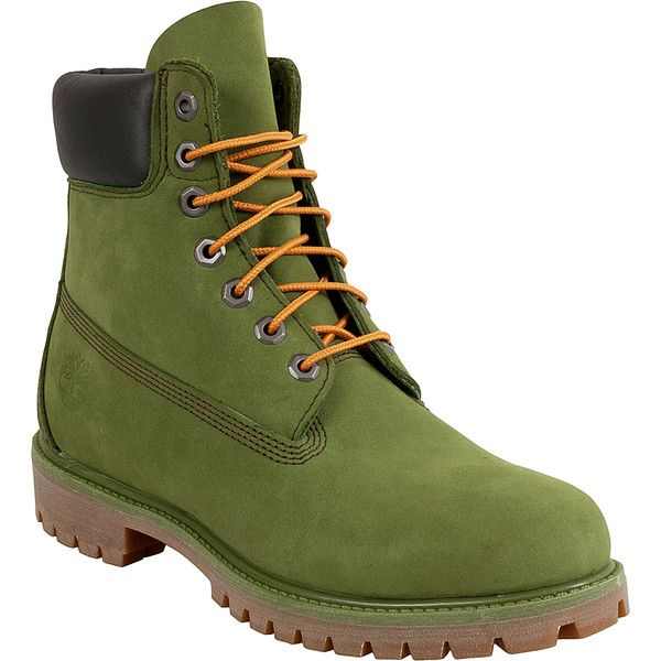 Timberland 6' Premium Thundra Men's Lace Up Boot ($190) ❤ liked on Polyvore featuring men's fashion, men's shoes, men's boots, green, timberland mens boots, mens green shoes, mens boots, mens lace up boots and mens rubber sole shoes