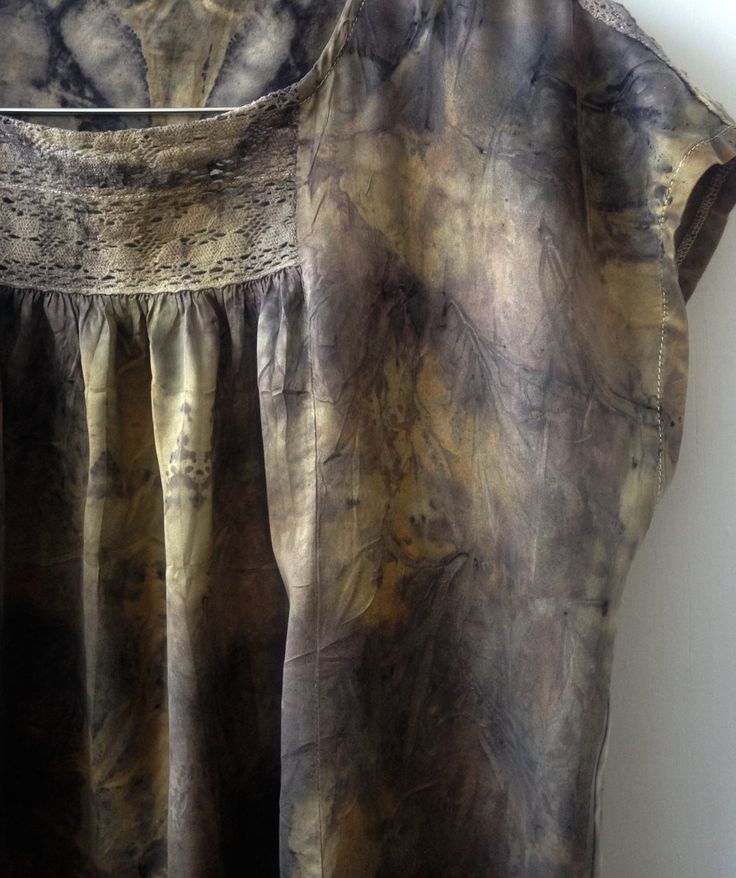 Eco dyed upcycled silk top by Rita Summers