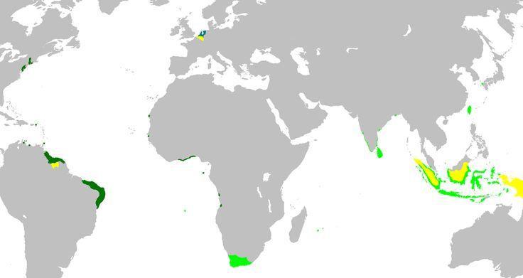 Um mapa anacrónico do Império Colonial Holandês. Verde claro: territórios administrados por ou provenientes de territórios administrados pela Companhia Holandesa das Índias Orientais; verde escuro: territórios da Companhia Holandesa das Índias Ocidentais.  Dutch Empire35 - Países Baixos – Wikipédia, a enciclopédia livre