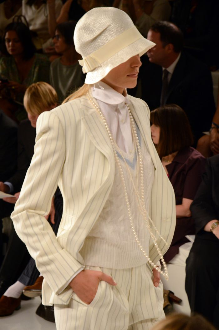 Ralph Lauren spring 2012 - love this 1920s cream and pale pinstripes, tennis chic. Androgyny plus pearls