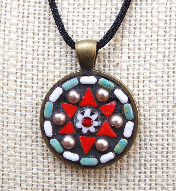 Handmade mosaic tile pendant / necklace by NikkiSullivanMosaics, $35.50