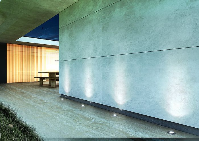 CLARO | rendl light studio | Outdoor light that can be recessed either into the ground or the wall. The fixture has a built-in 4W LED, a glass cover that gives a diffused effect, mounting box and a built-in transformer. #lighting #outdoor #LED