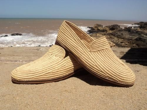 Natural Raffia  Men's Shoes  MOCASSIN shoe for men, A state of the art high quality comfortable shoe made of natural raffia. Light weight. leather sole flat talent. Sizes: 39– 44. Colors: natural raffia.. Ref. Number MH 01.