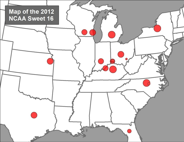 Map of the 2012 NCAA March Madness Sweet 16