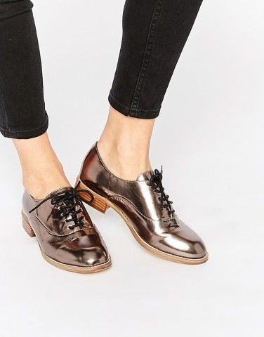 Metallic loafers are so in this fall-try out a pair from ASOS.