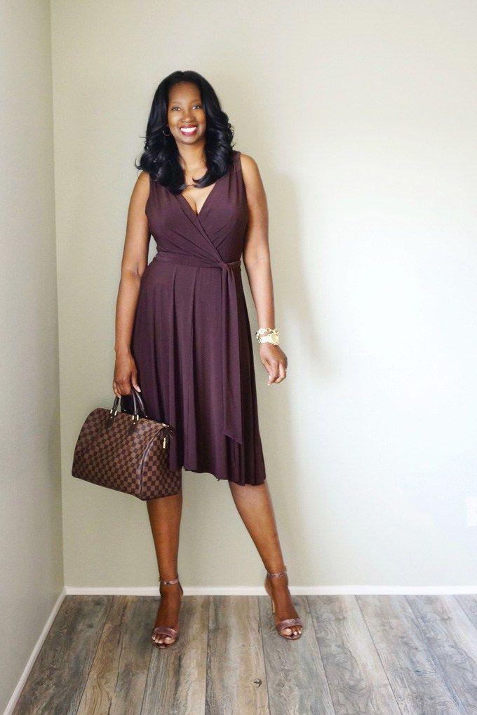 Pretty Tall Style - Tall Women's Fashion Blog - Brown Knit Jersey Wrap Dress
