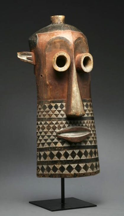 Africa | Kasai Pende helmet mask from DR Congo | Wood, pigment and kaolin