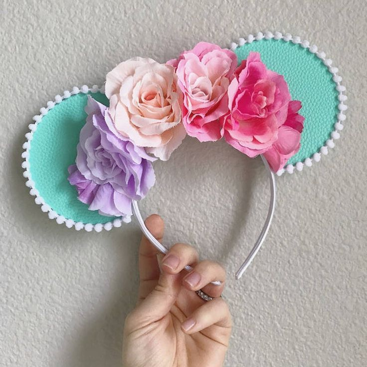 Rainbow Pastel Floral Mouse Ears for Disney, Turquoise Pink Blush Flower Crown Style Minnie Mickey Ears