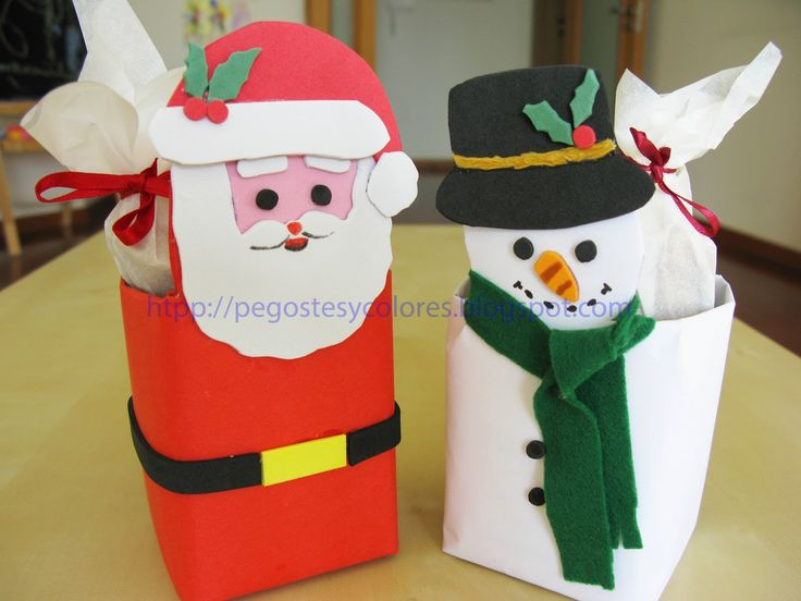 Christmas Treat Boxes of Santa Claus and Snowman  -  Cajas para Dulces de Santa Claus y Mono de Nieve
