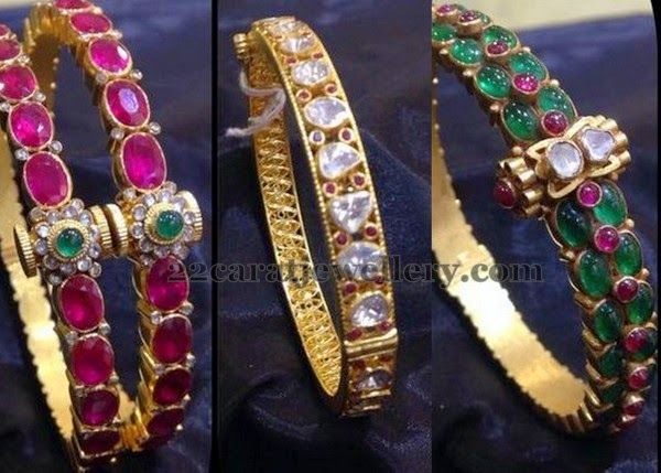 Jewellery Designs: Attractive Gemstone Bangles Gallery