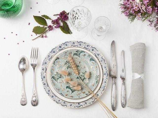 Deco de table mariage vaisselle vintage