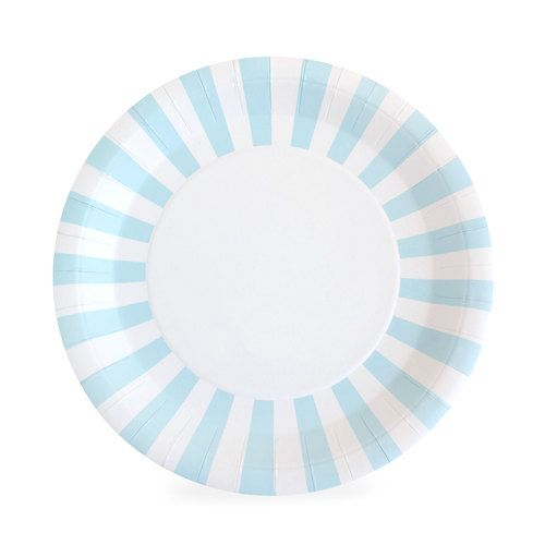Blue and White Striped Paper Plates | Large Blue Paper Plates | Blue Dinner Plates | Blue Party Plates - Set of 12 by PartyFix on Etsy
