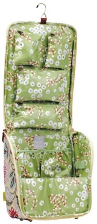 The BEST hanging travel bag for cosmetics & jewelry that you will ever use! All pouches on the inside velcro in and out, and the bottom is sectioned into areas for larger bottles. SO many cute patterns!