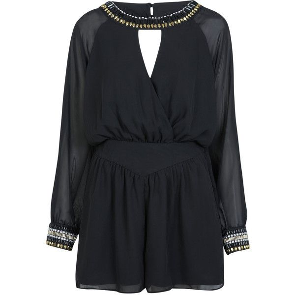 Miss Selfridge Embellished Detail Playsuit (4255 RSD) ❤ liked on Polyvore featuring jumpsuits, rompers, playsuits, dresses, black, miss selfridge, playsuit romper and chiffon romper