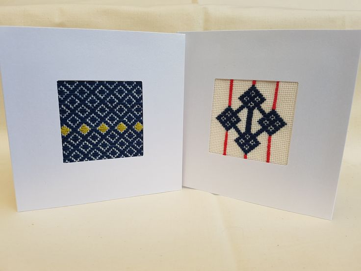 Embroidered kogin designs set into tri-fold greeting cards.