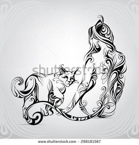 Vector silhouette of girl cat with a black cat in the ornament