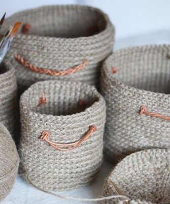 Gehäkelte Körbchen Für Krimskrams Aus Schnur Für Meinen Schreibtisch