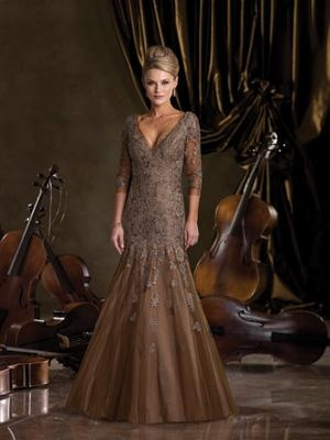 Formal Mother of the Bride Dress  A taffeta gown with a lace and tulle overlay by Ivonne D.: Formal Dresses, Lace Sleeve, Mon Cheri, The Bride, Dresses Formal, The Dresses, Long Hair Hairstyles, Bride Dresses, Fall Dresses