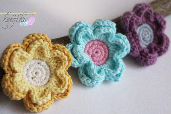 6 petals flower  crochet pattern DIY by KenjikuMade on Etsy