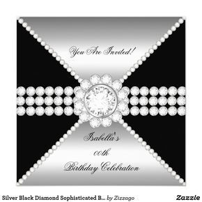 Silver Black Diamond Sophisticated Birthday Party Card Silver Black Diamond Jewel, Elegant Diamond White Jewel Image. Elegant Sophisticated Celebration Party Invitation. Customize with your own details and age. For women girls. Zizzago Invitations. All Occasions Any Age Party birthday invites Template for Sweet Sixteen, 16th, Quinceanera , 15th, 30th, 40th 50th, 60th, 21st. women and girls. Elegant Events for Girls, Party Invites for all ages, just customize to the age you want! Zizzago…