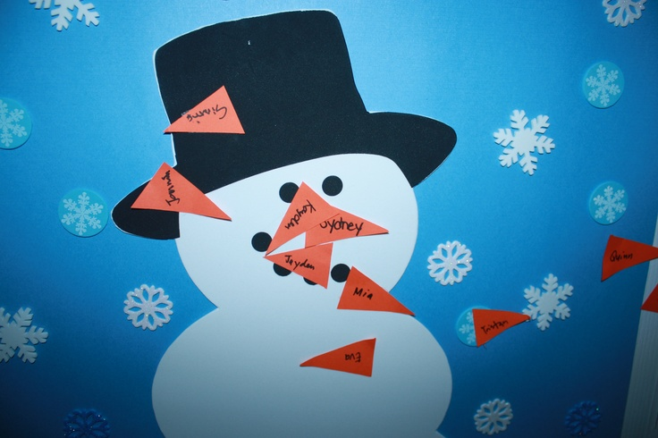 Pin the Carrot nose on the Snowman