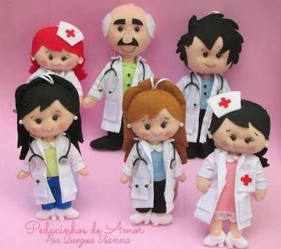 Resultado de imagem para bonecas profissões feltro tecido pinterest